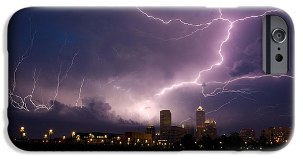 Indiana Rivers iPhone Cases - Storm over city iPhone Case by Alexey Stiop
