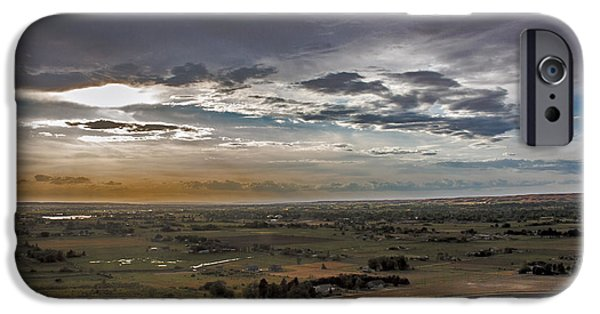 Haybale iPhone Cases - Storm Over Emmett Valley iPhone Case by Robert Bales