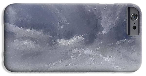 Eerie Paintings iPhone Cases - Storm Over Hayfield- Navy and Gray Art- Hayfield Art iPhone Case by Lourry Legarde