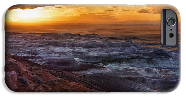 Watson Lake iPhone Cases - Storm Over Little Painted Desert iPhone Case by Alex Mironyuk