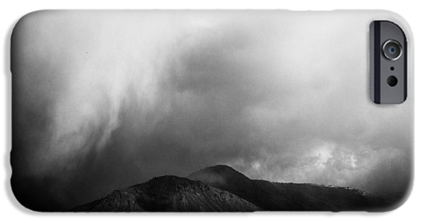 Film Noir iPhone Cases - Storm Over Mt Paul iPhone Case by Theresa Tahara