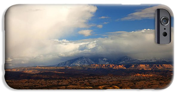 Storm Clouds iPhone Cases - Storm Over the La Sals iPhone Case by Mike  Dawson