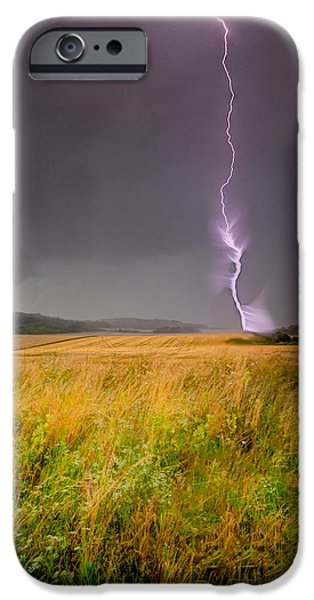 Crops iPhone Cases - Storm over the wheat fields iPhone Case by Eti Reid