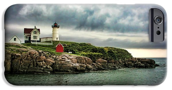 Cape Neddick Lighthouse iPhone Cases - Storm Rolling In iPhone Case by Heather Applegate