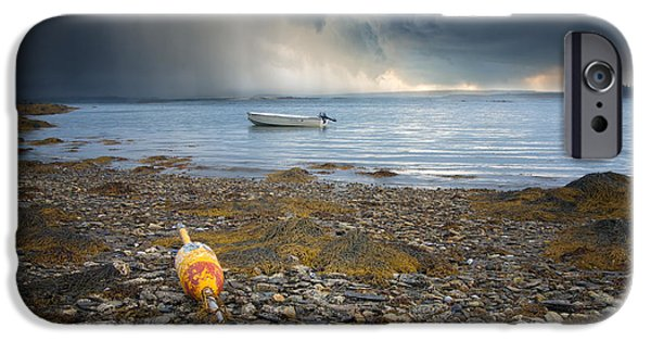 Maine Landscape iPhone Cases - Storm Rolls In iPhone Case by Darylann Leonard Photography