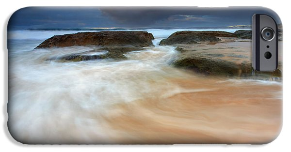 Knights Beach iPhone Cases - Storm Surge Sunrise iPhone Case by Mike Dawson
