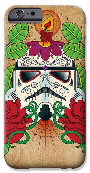 Storm Photographs iPhone Cases - Storm Trooper Sugar Skull iPhone Case by Samuel Whitton