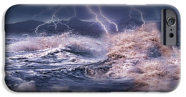 Photography Lightning iPhone Cases - Storm Waves Hitting Concrete iPhone Case by Panoramic Images