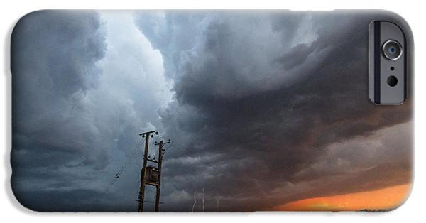 Storm iPhone Cases - Stormfront at Sunset iPhone Case by Ian Hufton
