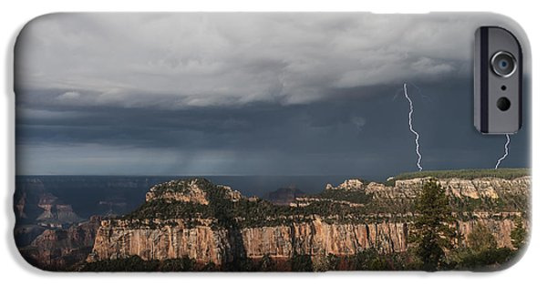 Electrical iPhone Cases - Storms at the Grand Canyon North Rim iPhone Case by Sandra Bronstein