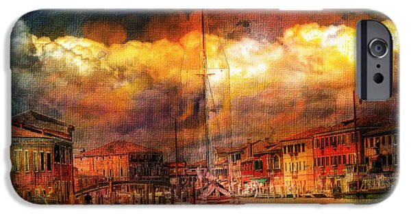 Storm Mixed Media iPhone Cases - Storms In Venice iPhone Case by Georgiana Romanovna