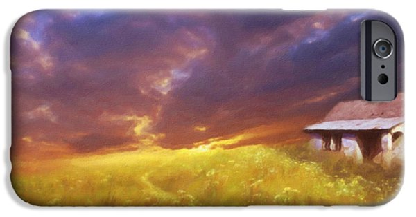 Buildings Mixed Media iPhone Cases - Storms On The Doorstep iPhone Case by Georgiana Romanovna