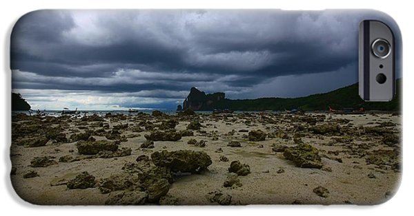 Thailand iPhone Cases - Stormy Beach iPhone Case by FireFlux Studios