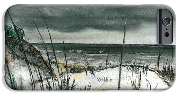 Beach Landscape Pastels iPhone Cases - Stormy Beach iPhone Case by Sarah Lowe