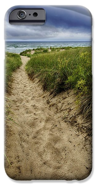 Storm Photographs iPhone Cases - Stormy Beach iPhone Case by Sebastian Musial