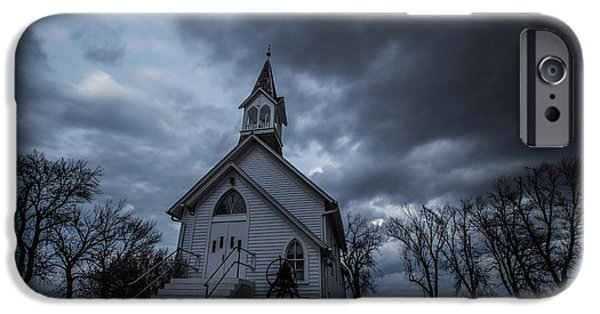 Slash iPhone Cases - Stormy Church iPhone Case by Aaron J Groen