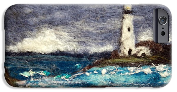 Storm Prints Tapestries - Textiles iPhone Cases - Stormy Day at the Lighthouse iPhone Case by Kyla Corbett