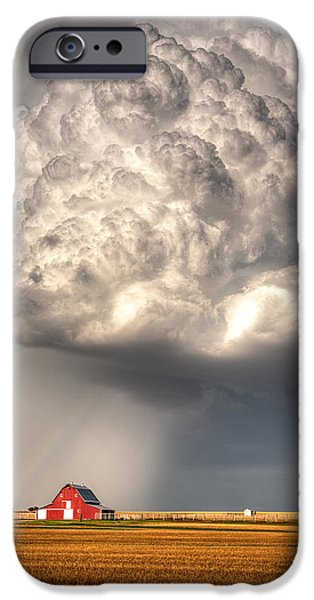 Prairie iPhone Cases - Stormy Homestead Barn iPhone Case by Thomas Zimmerman