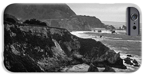 Bixby Bridge iPhone Cases - Stormy Hwy 1 Coast iPhone Case by Kathy Yates