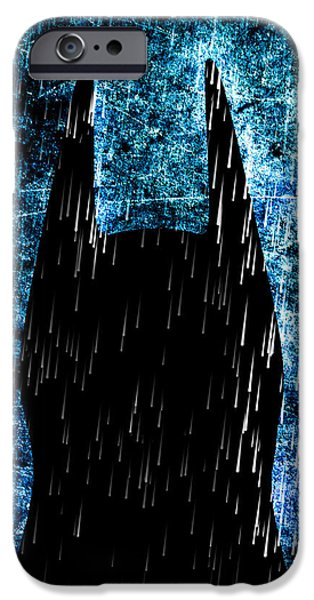 Rain Digital iPhone Cases - Stormy Knight Dark Knight iPhone Case by Bob Orsillo