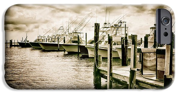 Pamlico Sound iPhone Cases - Stormy Marina on the Outer Banks iPhone Case by Dan Carmichael