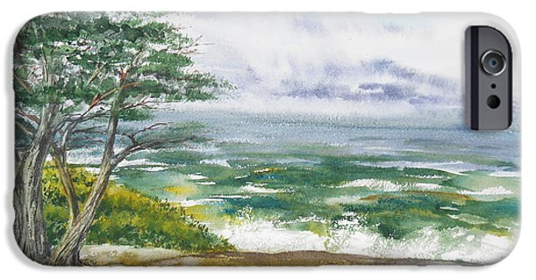 Mood Paintings iPhone Cases - Stormy Morning At Carmel By The Sea California iPhone Case by Irina Sztukowski