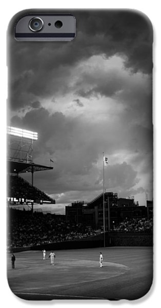 Chicago Cubs iPhone Cases - Stormy Night at Wrigley Field iPhone Case by Kathryn McBride