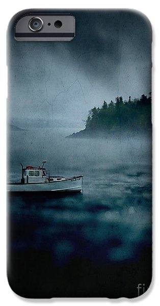 Maine iPhone Cases - Stormy Night off the Coast of Maine iPhone Case by Edward Fielding