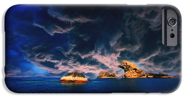 Concept Paintings iPhone Cases - Stormy Oasis Pastel iPhone Case by MotionAge Designs