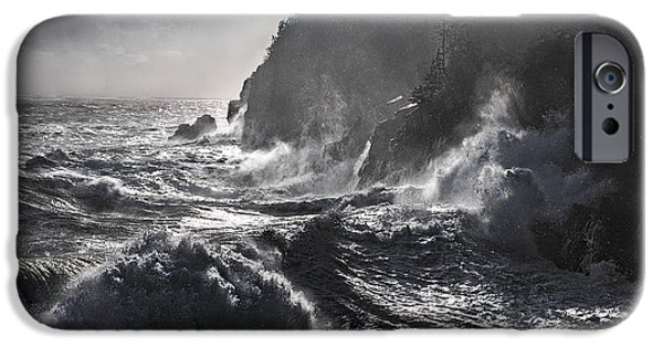 Quoddy Head State Park iPhone Cases - Stormy Seas at Gullivers Hole iPhone Case by Marty Saccone