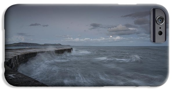 Sea Moon Full Moon iPhone Cases - Stormy seas at the Cobb  iPhone Case by Rob Hawkins