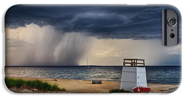 Bay Head Beach iPhone Cases - Stormy Seashore iPhone Case by Mark Miller