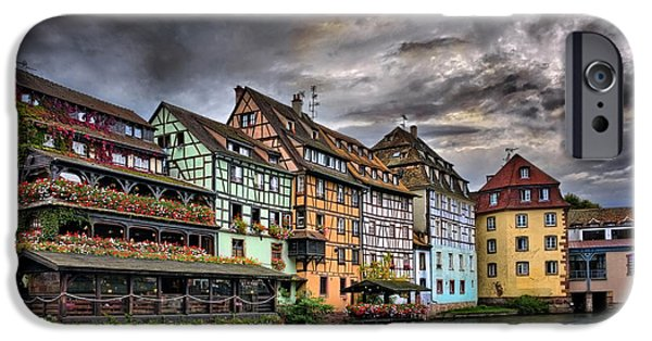 Drama iPhone Cases - Stormy Skies in Strasbourg iPhone Case by Carol Japp