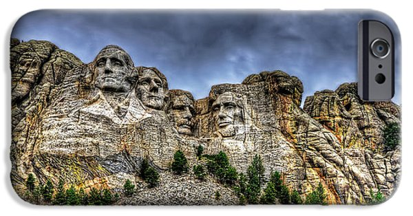 President iPhone Cases - Stormy skies over Mt Rushmore iPhone Case by Jim Boardman