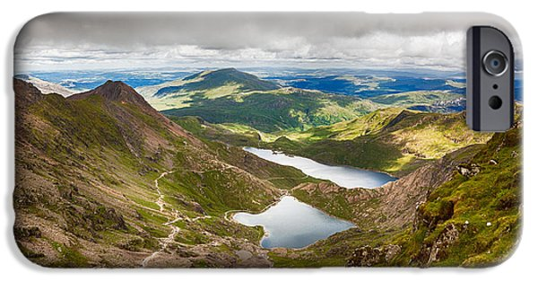 Park Scene iPhone Cases - Stormy skies over Snowdonia iPhone Case by Jane Rix