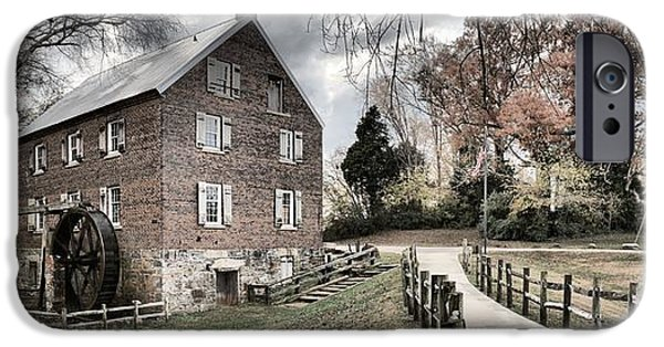 Grist Mill iPhone Cases - Stormy Skies Over The 1823 Grist Mill iPhone Case by Adam Jewell