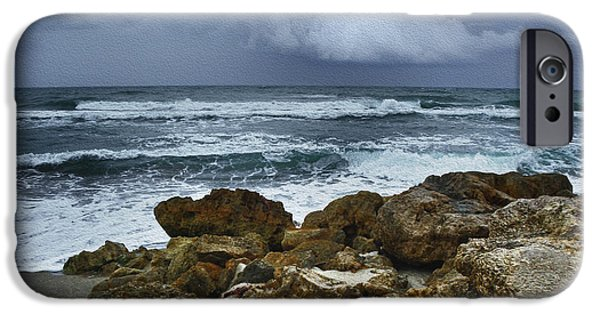 Winter Storm Digital iPhone Cases - Stormy Sky and Ocean Waves iPhone Case by Julie Palencia
