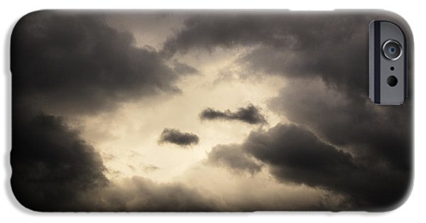 Dark Skies iPhone Cases - Stormy Sky with a Bit of Blue iPhone Case by Thomas R Fletcher