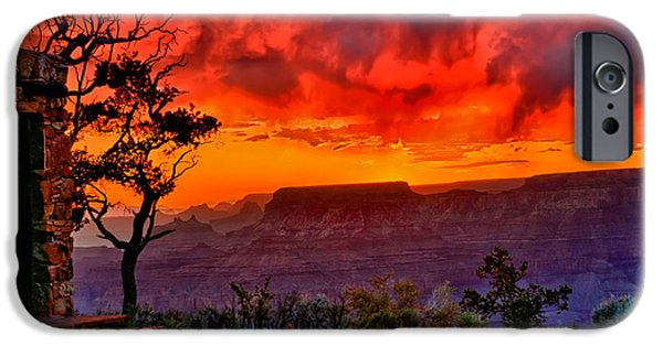 Grand Canyon iPhone Cases - Stormy Sunset at the Watchtower iPhone Case by Greg Norrell