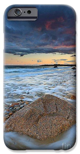 Storm Clouds Cape Cod iPhone Cases - Stormy Sunset Seascape iPhone Case by Katherine Gendreau