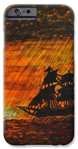 Sunset Glass Art iPhone Cases - Stormy Sunset iPhone Case by Valerie Lynn