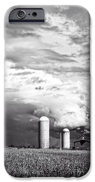 Silos iPhone Cases - Stormy Weather on the Farm iPhone Case by Edward Fielding