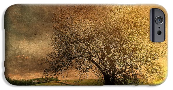 Tree Art Print Mixed Media iPhone Cases - Stormy Weather iPhone Case by Georgiana Romanovna