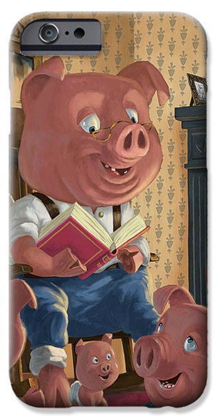 Storybook iPhone Cases - Story Telling Pig With Family iPhone Case by Martin Davey