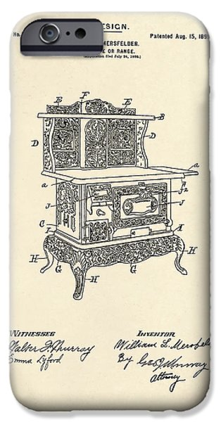 Stove iPhone Cases - Stove Patent 1899 iPhone Case by Mark Rogan