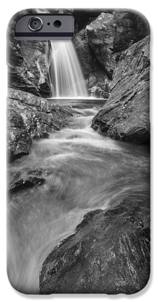 Recently Sold -  - Drama iPhone Cases - Stowe Vermont waterfall landscape black and white iPhone Case by Andy Gimino