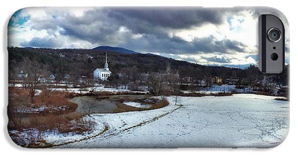 Winter Scene iPhone Cases - Stowe Vermont Winter Scene Panoramic iPhone Case by Joann Vitali