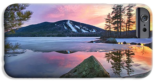 Maine Mountains iPhone Cases - St.Pattys Day Sunset iPhone Case by Darylann Leonard Photography