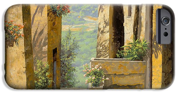 Yellowscape iPhone Cases - stradina a St Paul de Vence iPhone Case by Guido Borelli