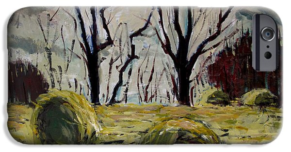 Remnants Paintings iPhone Cases - Stragglers iPhone Case by Charlie Spear
